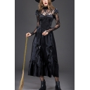Women's Fancy Halloween Witch Cosplay Costume Lace Panel Long Sleeve Black Maxi Dress