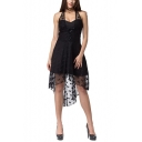 Womens Simple Halter Neck Open Back Lace-Up Front High Low Little Black Dress Prom Dress
