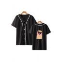 Hot Fashion Cute Cartoon Pug Dog Printed Short Sleeve V-Neck Button Baseball Shirt