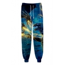 King of the Monsters 3D Printed Drawstring Waist Blue Sport Loose Sweatpants