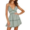Summer Hot Fashion Plaid Floral Printed Ruffled Trim V-Neck Mini A-Line Slip Dress