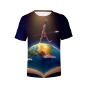 Blue Galaxy Funny Cartoon Figure on Earth Short Sleeve Round Neck Unisex Tee