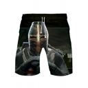 Knights Templar Cool Figure Printed Drawstring Waist Black Loose Fit Sport Shorts
