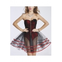 Womens Sexy Black and Red Zip Closure Bodyshaper Corset Bodysuit Mini A-Line Gauze Bandeau Dress