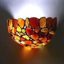 Tiffany Style Colorful Sconce Lamp 2 Lights Metal and Stone Wall Light for Dinging Room Bathroom
