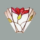 Living Room Flower Shade Wall Lamp Frosted Glass Tiffany Style Antique Wall Light with Multi Color
