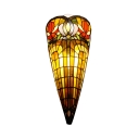 Colorful Conical Wall Lamp Tiffany Style Vintage Stained Glass Sconce Light for Dining Room Hallway