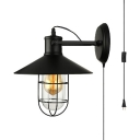 Vintage Cone Shape Sconce Light with Wire Frame 1 Light Metal Plug In Light Fixture in Black for Stair