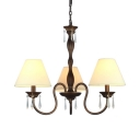 Multi Color Optional Hanging Light with Tapered Shade 3 Lights Metal and Fabric Chandelier for Foyer