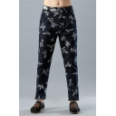 Men's Retro Chinese Style Blue Dragon Print Linen Straight Trousers