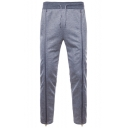 Mens Simple Plain Cool Double Zipper Front Drawstring Waist Straight Lounge Trousers