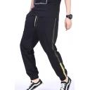Unique Stripe Side Drawstring Waist Black Cotton Sport Joggers Track Pants