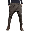Mens Unique Tied Front Solid Color Baggy Low Crotch Harem Pants