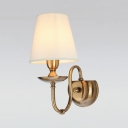 White/Beige Tapered Shade Sconce Light 1/2 Lights Traditional Style Fabric Metal Wall Lamp for Dining Room