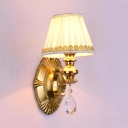 Fabric and Metal Sconce Light with Crystal Decoration 1/2 Lights Vintage White Tapered Shade Sconce Lamp for Bedroom