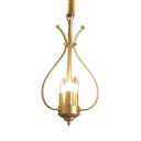 Candle Foyer Bedroom Chandelier Metal 3 Lights Antique Style Pendant Lighting in Brass