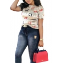 Summer Womens Fashion Allover Letter Printed Sexy Slim Fit T-Shirt