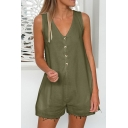 Women's Summer Solid Color Sleeveless V-Neck Button Down Frayed Hem Casual Romper