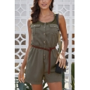 Women's Cool Round Neck Sleeveless Mesh Panel Button Down Flap Pocket Front Casual Workwear Romper with Belt
