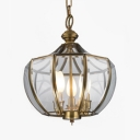 Luxurious Style Hanging Light Candle Shape 3 Lights Metal and Glass Chandelier for Living Room