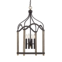 Antique Style Black Chandelier Candle Shape 4 Lights Metal and Wood Pendant Lamp for Dining Room