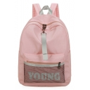 Stylish Letter YOUNG Printed Mesh Patched School Bag Backpack 30*11*40 CM