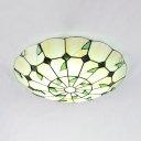 Dining Room Dome Ceiling Light Stained Glass Rustic Style Flush Mount Light in Beige