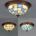Glass Bowl Flush Mount Light Dining Room Tiffany Style White/Blue/Blue and Clear Overhead Light