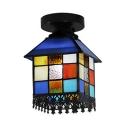 House Shape Ceiling Light 1 Light Tiffany Style Stained Glass Flush Mount Light for Balcony