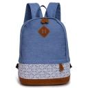 Stylish Plain Lace Patched School Bag Backpack 28*15*36 CM