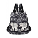 New Collection Floral Elephant Printed Large Capacity Black Shoulder Bag College Backpack 31*15*32 CM