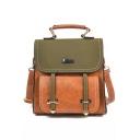 British Style Fashion Color Block Satchel Backpack 21*9*21 CM