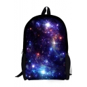 Hot Fashion Creative Galaxy Printed Purple Polyester School Backpack Laptop Backpack 28*13*44 CM