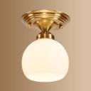 Bedroom Globe Shade Ceiling Light Open Frosted Glass 1 Light Simple Style White Flush Light