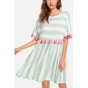 Womens Fancy Tassel Hem Round Neck Vertical Striped Printed Midi A-Line Dress