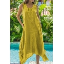Womens Summer Hot Fashion Simple Solid Color Sleeveless Drawstring Hem Maxi Loose Linen Dress