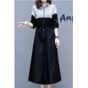Women's Casual Collared Long Sleeve Color Block Zip Front Drawstring Waist Maxi Black Sweatshirt Dress