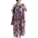 Women's New Floral Printed Round Neck Short Sleeve Loose Midi Cotton Swing Dress