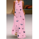 Women's Fashion Butterflies Pattern V-Neck Sleeveless Loose Maxi Dress