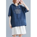 Women's Relaxed Letter Short Sleeve Plus Size Drawstring Hooded Tee