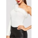 New Trendy One Shoulder Long Sleeve Sexy Fur-Trimmed Plain White T-Shirt For Women