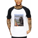Summer Funny Creative Notre-Dame Printed Colorblock Short Sleeve White T-Shirt