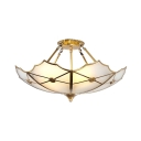 Frosted Glass Flower Semi Ceiling Mount Light Hotel 3 Lights Elegant Style Light Fixture