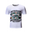 New Trendy Floral Printed Simple ENTHUSIASM Letter Round Neck Short Sleeve T-Shirt For Men