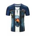 Men's New Stylish 3D Eagle Printed Blue Round Neck Short Sleeve T-Shirt