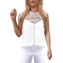 Womens Summer New Trendy Solid Color Hollow Out Lace Panel Sleeveless Chiffon Top