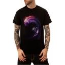 Men's Summer New Style Galaxy Astronaut Printed Basic Round Neck Short Sleeve Loose Unisex T-Shirt