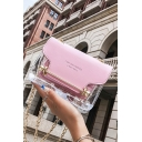 Designer Letter Printed Transparent Crossbody Bag with Chain Strap 17*7*14 CM