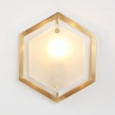 Metal Hexagon Wall Lamp 1 Light Colonial Style Sconce Light in Brass for Hotel Bedroom