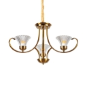Restaurant Tapered Shade Chandelier Metal 3/6 Lights Vintage Stylish Hanging Light in Brass